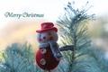 Картинка снеговик, елка, Новый год, Рождество, иголки, ветки