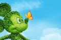 Картинка Микки маус, небо, листья, Mickey Mouse, бабочка, куст, уши, нос, глаза, облака