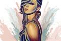 Картинка взгляд, краски, арт, фон, живопись, лицо, серьги, волосы, девушка