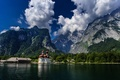 Картинка Germany, церковь, Bavaria, Германия, Bavarian Alps, Баварские Альпы, Königssee lake, озеро Кёнигсзе, Watzmann, St Bartholomew ...