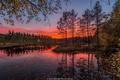 Картинка закат, осень, ветки, Jorn Allan Pedersen, Норвегия, речка, листья, деревья