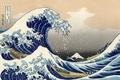 Картинка Фудзи, волна, лодки, рисунок