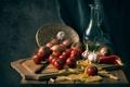 Картинка Buon appetito, перец, помидоры, доска, нож, чеснок, макароны, лук