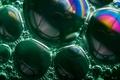 Картинка Soap bubble rainbows, rainbow, soap, bubbles, green, пузыри