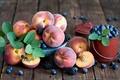 Картинка ягоды, фрукты, голубика, персики, ведёрко, ежевика