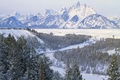Картинка Горы, снег, деревья, зима, река