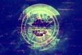 Картинка небоскребы, Космос, город, телевизор, знаки, общество потребления, пентаграмма, символы