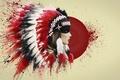 Картинка перья, кровь, роуч, индеец, art