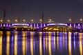 Картинка bridge, river, отражение, Тайбэй, city, lights, огни, reflection, ночь, Taiwan, Тайвань, night, река, подсветка, мост, ...