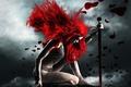 Картинка девушка, красный, меч, кольчуга, покорность, рыжая соня