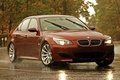 Картинка дорога, красный, разметка, бмв, BMW, red, блик, вид сбоку, road, speed, E60, 5 Series