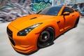 Картинка скорость, граффити, Orange, GTR, размытость, Nissan, передок, Tuning, R35