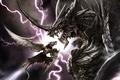 Картинка дракон, доспехи, молния, зубы