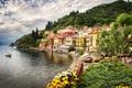 Картинка цветы, Альпы, Италия, горы, природа, дома, деревья, город, озеро, здания