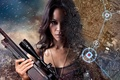 Картинка spark, sniper, america, revenge, flame, face, woman, girl, brunette, actress, map, shooter, long lens, Latin ...