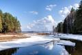 Картинка снег, природа, зима, деревья, облака, небо, река, лес