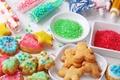 Картинка выпечка, десерт, конфеты, печенье, присыпка, еда, фигурки, новогоднее