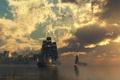 Картинка крепость, вода, корабль, облака, огонь