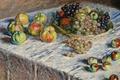 Картинка стол, картина, Клод Моне, Натюрморт. Яблоки и Виноград