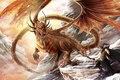 Картинка дракон, горы, арт, воин, уши, скалы, лук