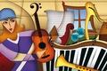 Картинка composition, figures, instruments, music, color