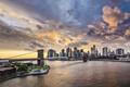 Картинка Manhattan, Brooklyn Bridge, мост, Бруклинский мост, New York City, Манхэттен, небоскрёбы, East River, Нью-Йорк, Ист-Ривер, ...