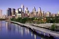Картинка утро, небоскребы, мост, дома, Филадельфия, США