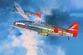 Картинка японские, Hasegawa, арт, WW2, Ки – 61, Kawasaki, одноместные, рисунок, Хасегава, Ki-61, истребители, небо, облака