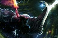 Картинка огонь, меч, бой, воин, forest, dragon