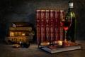 Картинка бокал, книги, бутылка, трубка, очки, A relaxing evening