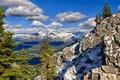 Картинка облака, деревья, горы, Banff National Park
