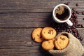 Картинка чашка, шоколад, зерна, печенье, кофе, мешочек