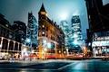 Картинка ночь, город, огни, выдержка, улицы