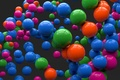 Картинка шарики, цветные, отражение, сферы, арт, шары, серый фон