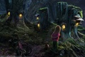 Картинка девочка, сказочный лес, собачка, домики пни