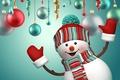 Картинка снеговик, Новый Год, Merry, Рождество, New Year, Christmas, cute, snowman, шары, decoration