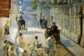 Картинка картина, The Street Mosnier with the Pavers, улица, ремонт, городской пейзаж, Эдуард Мане, рабочие