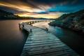 Картинка Лангедок-Руссильон, Перьяк-де-Мер, мостик, природа, зарево, Франция