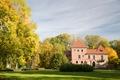 Картинка парк, природа, архитектура, деревья, замок, Poland, дом, Польша, лавочки, Кутно, Kutno, осень