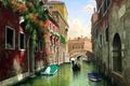 Картинка цветы, Mark Pettit, картина, мост, Италия, дома, балконы, окна, лодки, гондола, вода, канал, Венеция