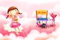 Картинка зверёк, мороженое, девочка, тележка, рисунок, косички, фантазия, радость, облака