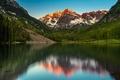 Картинка Maroon Bells, Озеро, Colorado, Пейзаж, Природа, Горы, США