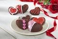 Картинка любовь, цветы, праздник, сердце, еда, розы, букет, печенье, love, пирожное, i love you, heart, food, ...