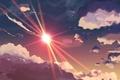 Картинка рисунок, лучи, небеса, солнце, небо, облака