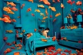 Картинка рыбы, навязчивые идеи, Sandy Skoglund, синяя комната