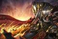 Картинка Heroes of Newerth, магия, шлем, воин, старик, hon, меч, Maliken, доспех