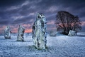 Картинка снег, зима, Уилтшир, Великобритания, ночь, поле, облака, небо, мегалит, камни