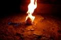 Картинка домик, ночь, огонь