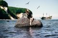 Картинка girl, rock, pirates, ship, seagulls