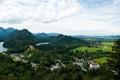 Картинка горы, Фюссен, Germany, Fussen, Германия, дома, Bavaria, замок, природа., пейзаж, Бавария, река, лес